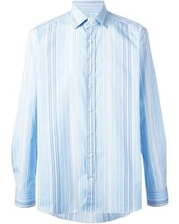 Etro Blue Striped Shirt - Lyst