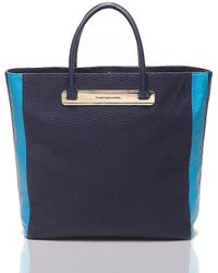 Tommy Hilfiger Canvas & Leather Stripe Tote - Lyst