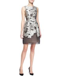 Lela Rose Metallic Embroidered Fullskirt Dress - Lyst