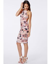 Missguided Freda Open Back Bodycon Dress Pink Rose - Lyst