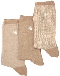Lauren by Ralph Lauren Tweed Socks 3pack - Lyst