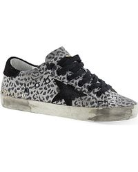 Golden Goose Deluxe Brand Superstar Animal Print Lace-Up Trainers - For Women - Lyst