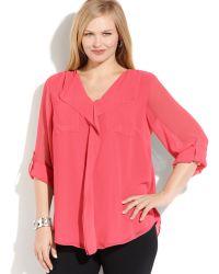 Calvin Klein Plus Size Long-sleeve Ruffled Blouse - Lyst