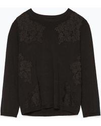 Zara Lace Sweater - Lyst