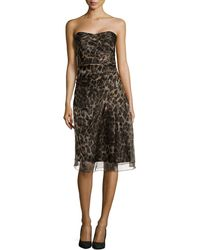 Badgley Mischka Strapless Leopard-Print Dress - Lyst