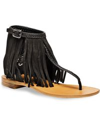 Prada Fringed Leather Thong Sandals - Lyst