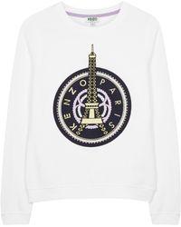 KENZO - Eiffel Tower-embroidered Cotton Sweatshirt - Lyst