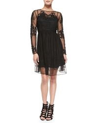 French Connection Maddison Floral-embroidered Mesh Dress - Lyst