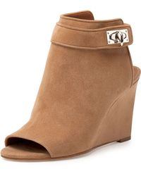 Givenchy Suede Shark-Lock Peep-Toe Wedge Bootie - Lyst