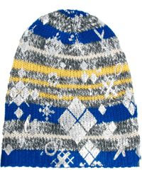 Asos Lauren Mccalmont For Foil Print Cut About Argyle Print Salt Pepper Boyfriend Beanie - Lyst