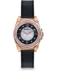 Breil Manta Crystal, Rose Goldtone Ip Stainless Steel & Leather Strap Watch - Lyst