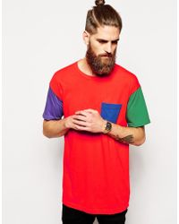American Apparel Washed Color Block T-shirt - Lyst