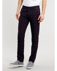 Topman Burgundy Check Skinny Trousers - Lyst