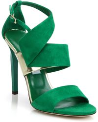 Jimmy Choo Trapeze Asymmetrical Suede & Metallic Leather Sandals - Lyst