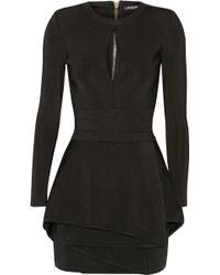 Balmain Stretch-twill Peplum Mini Dress - Lyst