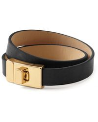 Banana Republic Double Leather Wrap Bracelet Black - Lyst