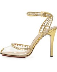 Charlotte Olympia Soho Studded Pvc Ankle-wrap Sandal - Lyst
