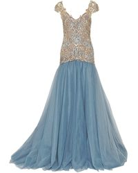 Marchesa Drop Waist Embroidered Ball Gown - Lyst
