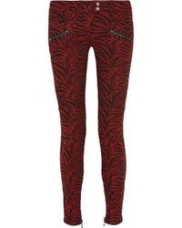 Balmain Zebra-Print Moto-Style Mid-Rise Skinny Jeans - Lyst
