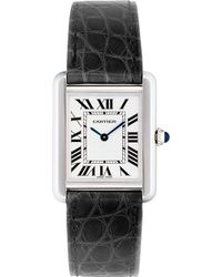 Cartier Tank Solo Steel and Leather Small Watch - Lyst