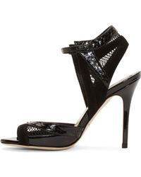 Brian Atwood Black Snakeskin and Mesh Iara Heels - Lyst
