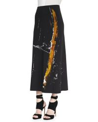 Donna Karan New York Painterly Printed Midi Pull-on Skirt - Lyst