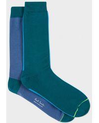 Paul Smith | Men's Two-tone Petrol Vertical Block Socks | Lyst
