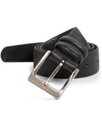 Canali Pebbled Leather Belt blue - Lyst