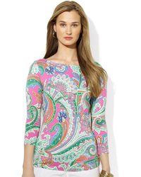 Lauren by Ralph Lauren Three-Quarter-Sleeved Paisley Shirt - Lyst