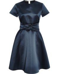 Rochas Belted Duchesse Satin Dress - Lyst