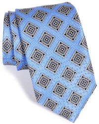JZ Richards Medallion Print Silk Tie - Blue