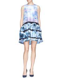 Victoria, Victoria Beckham Wave Print Ruche Shantung Dress - Lyst