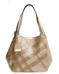 Burberry 'Small Cantebury' Check Embossed Metallic Leather Tote - Metallic - Lyst
