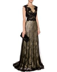 Marchesa Metallic Lace Gown - Lyst