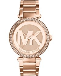 Michael Kors Mid-Size Rose Golden Stainless Steel Parker Chronograph Glitz Watch - Lyst