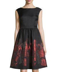Cynthia Steffe Metallic Floral Fit-And-Flare Dress - Lyst