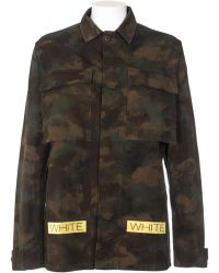 Off White C/o Virgil Abloh Giacca Sahariana Camouflage green - Lyst