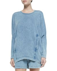 Helmut Lang Denim Dropped-sleeve Sweatshirt W Pockets - Lyst