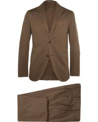 Boglioli Khaki Cotton And Linen-Blend Suit - Lyst