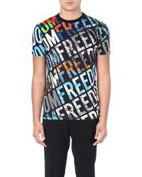 Moschino Freedom Print Cotton Tshirt Multi - Lyst