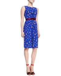 Carolina Herrera Sleeveless Diamondprint Dress Cobalt Blue - Lyst