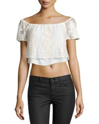 Madison Marcus Embroidered Tulle Crop Top - Lyst