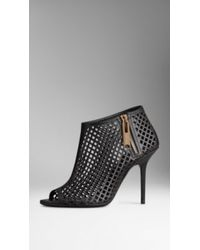 Burberry Leather Lattice Peep-toe Ankle Boots - Lyst