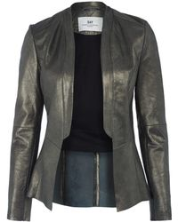 Day Birger Et Mikkelsen Gold Collarless Cut Out Leather Tux Jacket - Lyst
