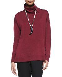 Eileen Fisher Merino Wool Long-Sleeve Turtleneck - Lyst