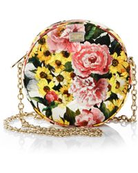 Dolce & Gabbana Floral Brocade Fan Crossbody Bag - Lyst