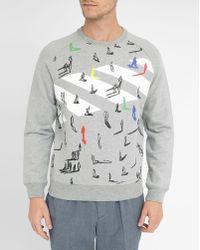 Carven | Mottled-grey Pedestrian Crossing Round-neck Sweatshirt | Lyst