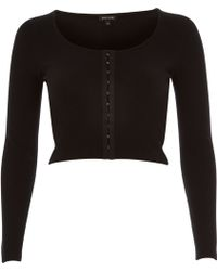 River Island Black Hook and Eye Ribbed Crop Top - Lyst