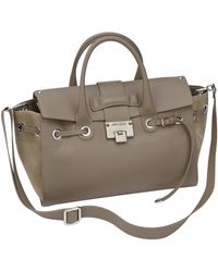 Jimmy Choo Leather Suede Flap Tote - Lyst
