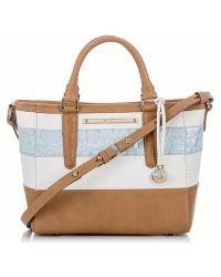 Brahmin Mini Arno Embossed Leather Colorblock Tote Bag - Lyst